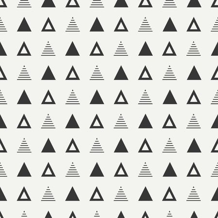 geometric pattern: Geometric line monochrome abstract hipster seamless pattern with triangle
