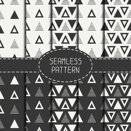 delta cell: Set of line polygon abstract hipster seamless pattern Illustration