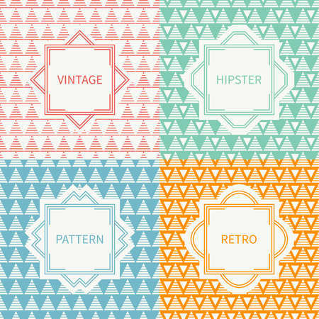 delta cell: Set of mono line polygon hipster seamless pattern with triangle. Vintage frames in red, green, blue, gold. Wrapping paper. Background. Texture for greeting cards, invitations. Labels, badges.
