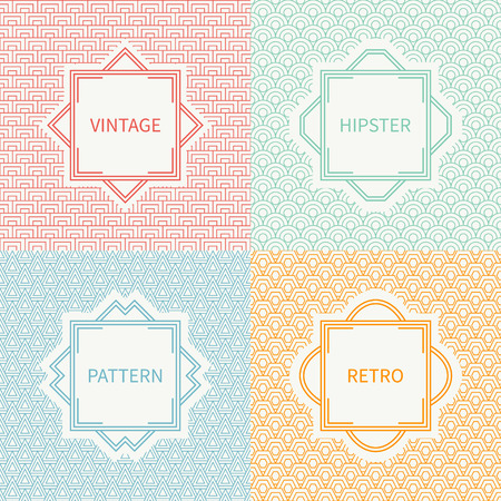 Set of mono line polygon hipster seamless pattern. Vintage frames in red, green, blue, gold. Wrapping paper. Vector background. Texture for greeting cards, wedding invitations. Labels, badges.