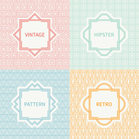 delta cell: Set of mono line polygon hipster seamless pattern. Vintage frames in red, green, blue, gold. Wrapping paper. Vector background. Texture for greeting cards, wedding invitations. Labels, badges.