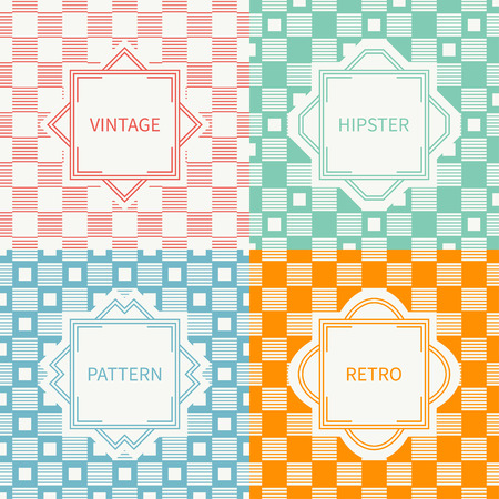 Set of mono line geometric seamless pattern with square, cube. Vintage frames in red, green, blue, gold. Wrapping paper. Vector background. Greeting cards, invitations. Labels, badges.