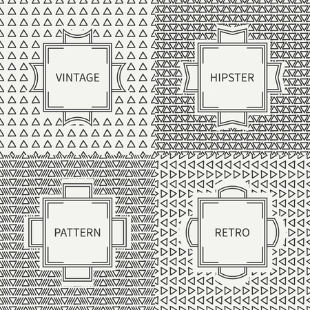 delta cell: Set of hand drawn line ink polygon hipster seamless pattern with triangle. Vintage frames. Wrapping paper. Vector background. Texture for greeting cards, wedding invitations. Labels, badges.