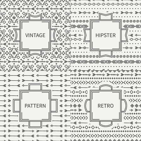 seamless background: Set of hand drawn line ink geometric ethnic seamless pattern. Frames. Doodles style. Tribal native vector illustration. Aztec background. Greeting cards, invitations. Labels, badges. Illustration