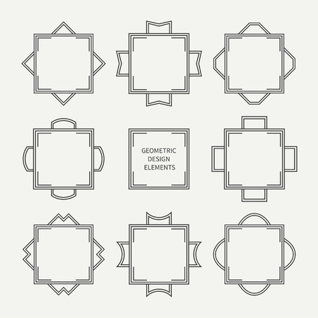illustration line art: Set of mono line retro frame. Vector illustration. Isolated elegant design elements, border. Collection of symbols. Cards, wedding invitations. Labels, badges.