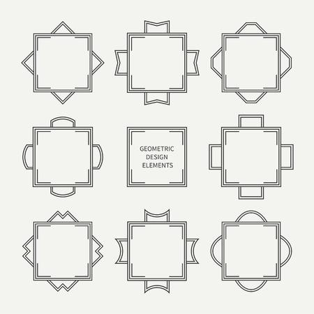 Set of mono line retro frame. Vector illustration. Isolated elegant design elements, border. Collection of symbols. Cards, wedding invitations. Labels, badges.