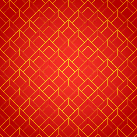 Gold and red geometric national chinese seamless pattern. Wrapping paper. Scrapbook paper. Chinese new year 2016. Beautiful  vector illustration. Background. Stylish graphic texture. Иллюстрация