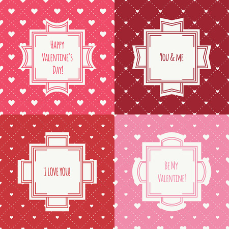 romantic: Set of red, pink romantic seamless pattern with hearts. Illustration