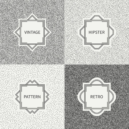 disposed: Polka dot. Geometric monochrome abstract pattern set with round, dotted circle. Wrapping paper. Scrapbook paper. Tiling. Vector illustration. Background. Texture with randomly disposed spots.