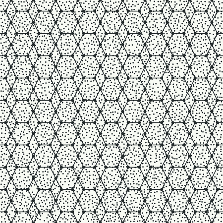 disposed: Geometric abstract seamless polygon pattern. Wrapping paper. Polygonal tiling. Vector illustration. Background. Optical illusion effect. Graphic texture with randomly disposed spots.