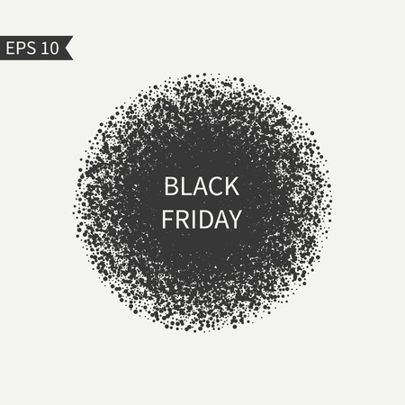 disposed: Black Friday sale sign. Black and white design element. Round . Advertising, shopping, discount, marketing, selling. Burst sparkles. Confetti. Glitter background. Randomly disposed spots. Illustration