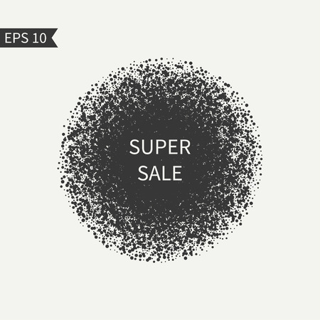 disposed: Sale sign. Black and white design element. Round . Advertising, shopping, discount, marketing, selling. Burst sparkles. Confetti. Glitter background. Randomly disposed spots. Dotted circle.