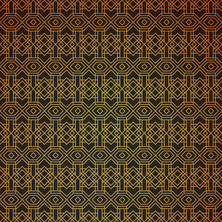 intersecting: Gold geometric retro abstract seamless cube pattern with rhombuses, square. Vintage party. Wrapping paper. Scrapbook. Vector illustration. Art deco Background. Graphic texture. Seamless pattern.