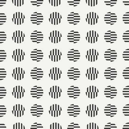 original circular abstract: Geometric line monochrome abstract hipster seamless pattern with round, circle. Wrapping paper. Scrapbook. Stripes. Vector illustration. Background. Texture. Design, wallpaper. Constructionism Illustration