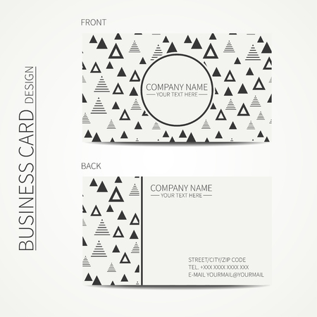 calling card: Vector simple business card design. Template. Black and white. Business card for corporate business and personal use. Calling card. Geometric monochrome triangle pattern. Delta, trigon. Illustration