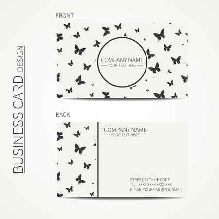 calling card: Vector simple business card design. Template. Black and white. Business card for corporate business and personal use. Calling card. Geometric monochrome pattern with butterfly.