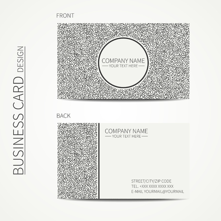 disposed: Vector simple business card design. Template. Black and white. Business card for corporate business and personal use. Calling card. Geometric pattern. Randomly disposed spots. Polka dot. Illustration