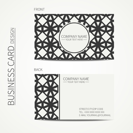 calling card: Vector simple business card design. Template. Black and white. Business card for corporate business and personal use. Calling card. Geometric monochrome line lattice arabicpattern. Oriental style.