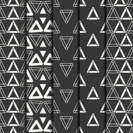 delta cell: Set of geometric line monochrome abstract hipster seamless pattern with triangle. Wrapping paper. Scrapbook paper. Tiling. Vector illustration. Background. Graphic texture for design, wallpaper.