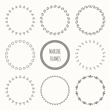 Set of hand drawn nautical hipster pattern. Wreath for invitations and birthday cards. Vector background. Illustration. Graphic style. Doodle art design elements. Marine frame collection. Sea Illustration