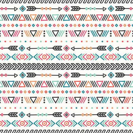 Day of the Dead. Tribal hand drawn line mexican ethnic seamless pattern. Border. Wrapping paper. Print. Doodles. Tiling. Handmade native vector illustration. Aztec background. Texture. Style skull  イラスト・ベクター素材