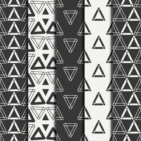 Set of geometric line monochrome abstract hipster seamless pattern with triangle. Wrapping paper. Scrapbook paper. Tiling. illustration. Background. Graphic texture for design, wallpaper.
