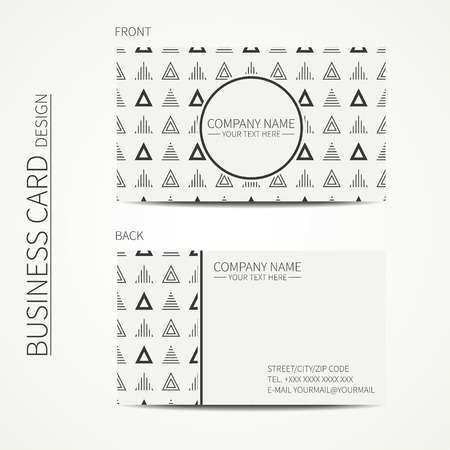 calling card: simple business card design. Delta, trigon. Template. Black and white. Business card for corporate business and personal use. Trendy calling card. Geometric triangle pattern. Illustration