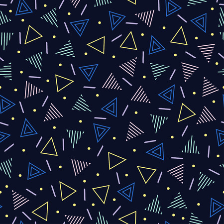 Retro memphis geometric line shapes seamless patterns. Hipster fashion 80-90s. Abstract jumble textures. Zigzag lines. Triangle. Memphis style for printing, website, design, poster.