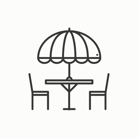 patio set: Thin line icons set. Table and chair outside. Outdoors. Silhouette street cafe, restaurant sign. Food service. Patio furniture symbol. Vector style linear icons. Isolated flat illustration. Object
