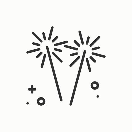banger: Sparkler, bengal fire icon. Party celebration birthday holidays event carnival festive.