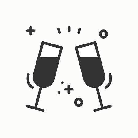 Two glasses, toast icon. Binge, drink, champagne, wine.Party celebration, birthday, holidays, event, carnival festive. Thin line party element icon. Vector simple linear design. Illustration. Symbols.