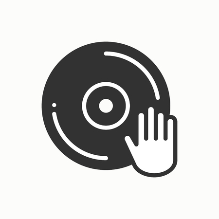 disk jockey: DJ disk jockey turntable icon. Vinyl record disco dance nightlife club. Party celebration birthday holidays event carnival festive. Line party element icon. Vector linear design. Illustration. Symbols