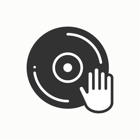 DJ disk jockey turntable icon. Vinyl record disco dance nightlife club. Party celebration birthday holidays event carnival festive. Line party element icon. Vector linear design. Illustration. Symbols