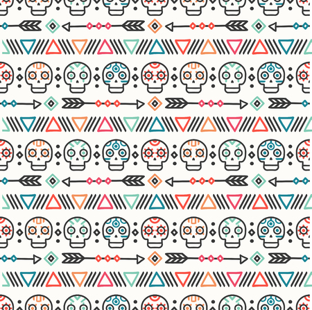 Day of the Dead. Tribal hand drawn line mexican ethnic seamless pattern. Border. Wrapping paper. Print. Doodles. Tiling. Handmade native vector illustration. Aztec background. Texture. Style skull.  イラスト・ベクター素材