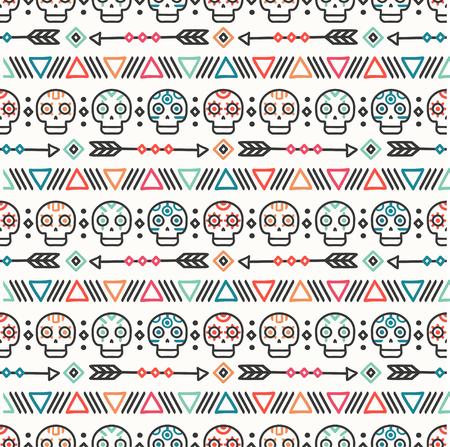 Dag van de Doden. Tribal hand getekende lijn Mexicaanse etnische naadloze patroon. Grens. Inpakpapier. Afdrukken. Doodles. Tegels. Handgemaakte inheemse vector illustratie. Aztec achtergrond. Textuur. Stijlschedel. Stockfoto - 75748477