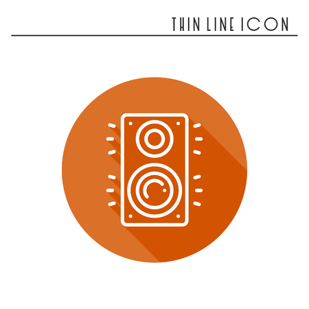 boom box: Music column audio speakers icon. Stereo music sound system cinema column. Line party element icon. Vector linear design. Illustration. Symbols, sign. Stock Photo