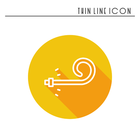 Birthday whistle icon. Party blower noise maker. Celebration happy birthday holidays event carnival festive. Thin line party basic element icon. Vector simple linear design. Illustration. Symbols, sign.