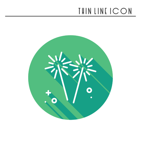 family holiday: Sparkler, bengal fire icon. Party celebration birthday holidays event carnival festive. Thin line party basic element icon. Vector simple linear design. Illustration. Symbols. Congratulation