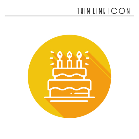 Birthday Cake Pie With Candles Icon Happy Birthday Party