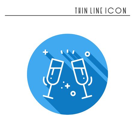 festivity: Two glasses, toast icon. Binge, drink, champagne, wine.Party celebration, birthday, holidays, event, carnival festive Thin line party element icon Vector simple linear design Illustration Symbols