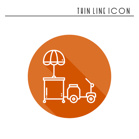 Street food retail thin line icon. Tricycle trade cart. Fast food trolley motorcycle, motorbike. Wheel shop, mobile kiosk, stall. Vector style linear icon. Isolated flat illustration. Symbols Illustration
