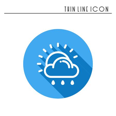 太陽、雲、雨、ラインのシンプルなアイコンです。天気記号。気象学。設計要素間の天気予報します。