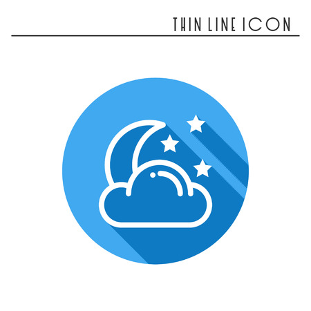 Moon night line simple icon. Weather symbols. Dream, sleep. Design element. Template for mobile app, web and widgets. Vector style linear icon. Isolated illustration. Flat sunlight, sign. Logo. Stock Photo