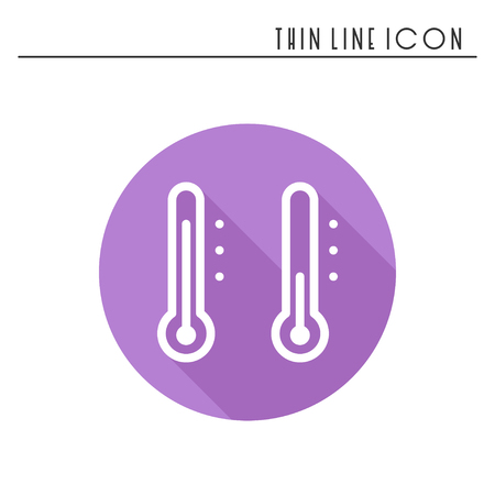 freeze: Thermometer line simple icon. Weather symbols. Meteorology. Forecast design element. Template for mobile app, web and widgets. Illustration