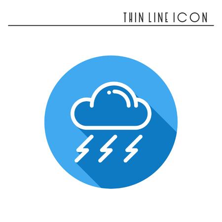 precipitation: Cloud, sky, rain, storm line simple icon. Weather symbols. Meteorology. Forecast design element.