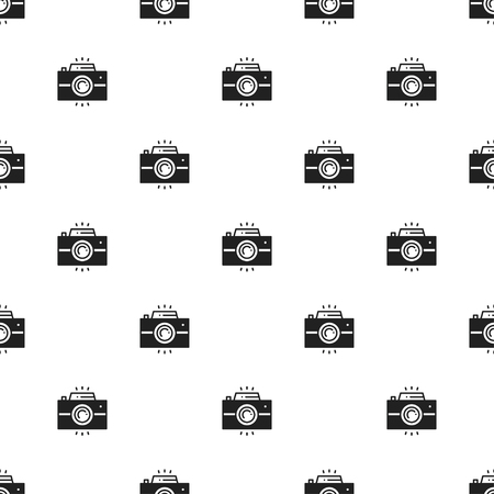photography backdrop: Photo camera retro seamless pattern. Print. Photograph, photo gadget, instant photo, camera, snapshot sign. Decor elements icons. Vector illustration. Background. Texture for wrapping paper, textile. Illustration