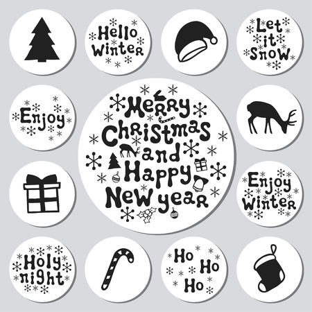 christmas tree illustration: Christmas New Year gift round stickers. Labels xmas set. Hand drawn decorative element. Collection of holiday christmas stickers in black white. Texture. Vector illustration. Lettering, calligraphy.