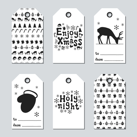 christmas tree illustration: Christmas and New Year gift tags. Cards xmas set with hand drawing elements. Collection of holiday paper label in black and white. Seasonal badge sale design. Texture. Print. Vector illustration. Illustration