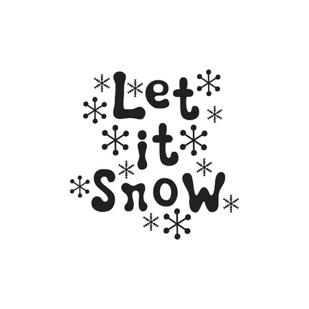 Let it snow. Christmas calligraphy phrase. Handwritten brush seasons lettering. Xmas phrase. Hand drawn design element. Happy holidays. Greeting card text. Christmas calligraphy.