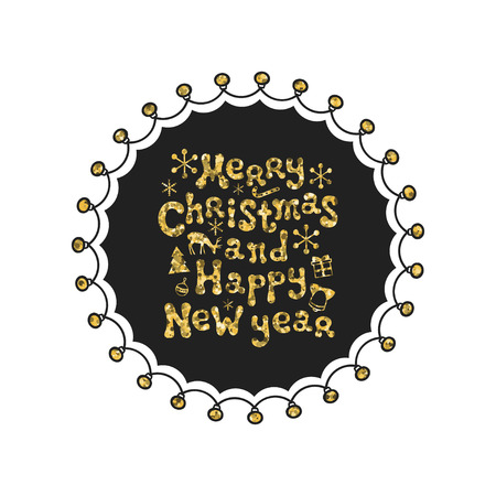 hand print: Merry Christmas, New Year. Calligraphy golden phrase. Handwritten glitter seasons lettering. Xmas phrase. Hand drawn element. Holidays. Greeting card text. Christmas calligraphy. Label badge sticker.